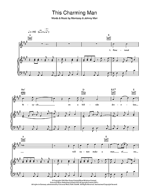 The Smiths This Charming Man sheet music notes and chords. Download Printable PDF.