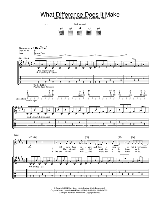 The Smiths What Difference Does It Make? sheet music notes and chords. Download Printable PDF.