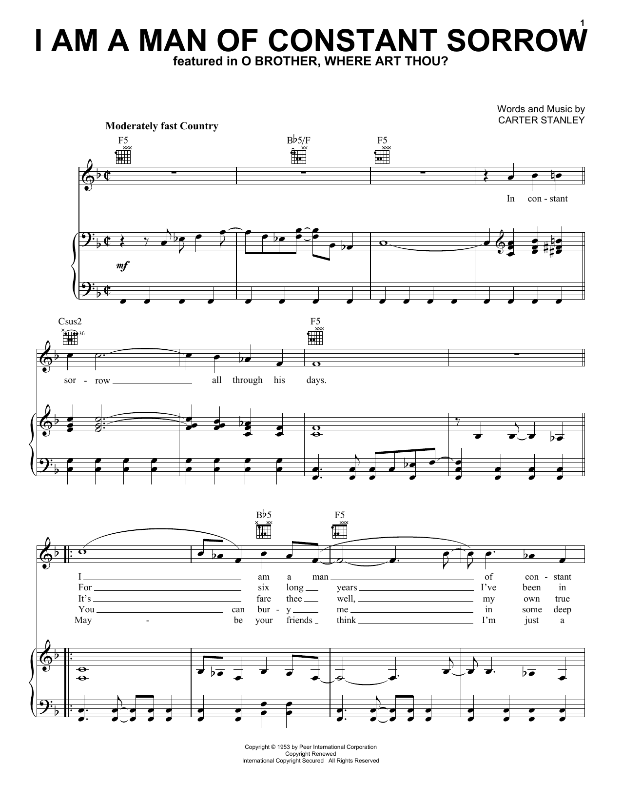 The Soggy Bottom Boys I Am A Man Of Constant Sorrow sheet music notes and chords