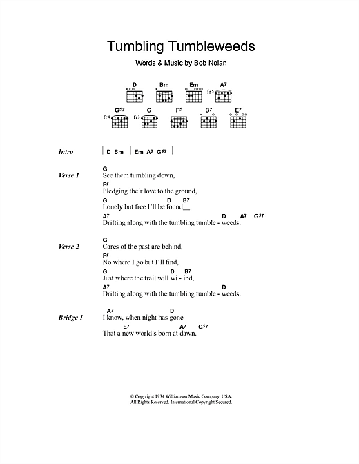 The Sons Of Pioneers Tumbling Tumbleweeds sheet music notes and chords. Download Printable PDF.