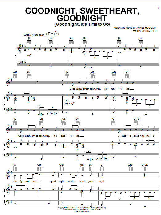 The Spaniels 'Goodnight, Sweetheart, Goodnight (Goodnight, It's Time To  Go)' Sheet Music Notes, Chords | Download Printable Piano, Vocal & Guitar
