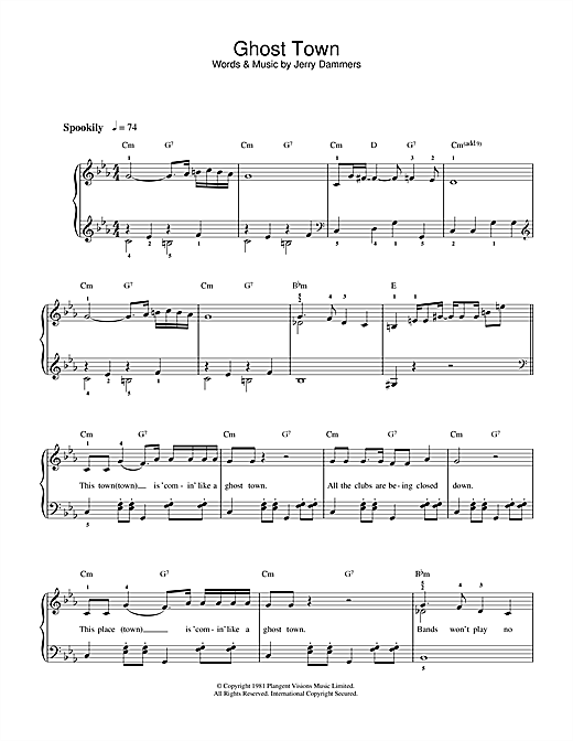 The Specials Ghost Town sheet music notes and chords. Download Printable PDF.