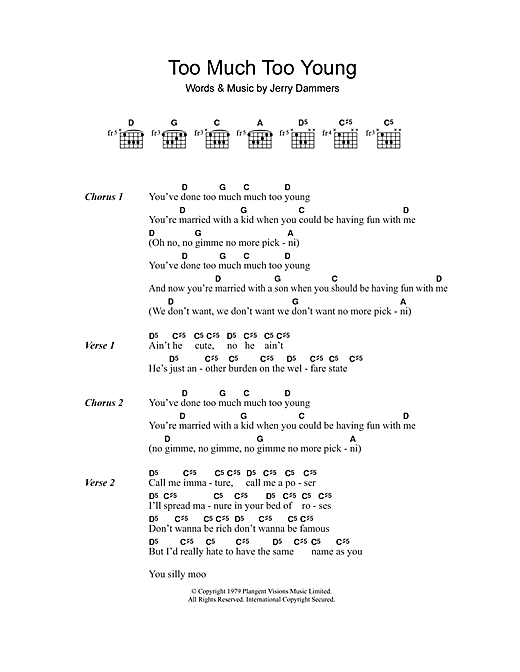 The Specials Too Much Too Young sheet music notes and chords. Download Printable PDF.