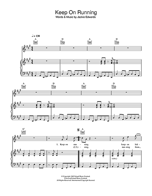 The Spencer Davis Group Keep On Running sheet music notes and chords