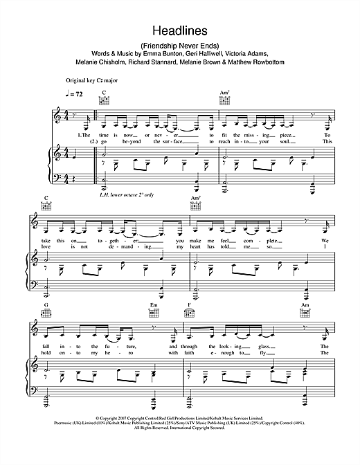 The Spice Girls Headlines (Friendship Never Ends) sheet music notes and chords. Download Printable PDF.