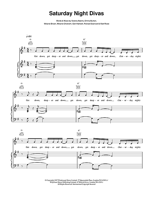 The Spice Girls Saturday Night Divas sheet music notes and chords. Download Printable PDF.