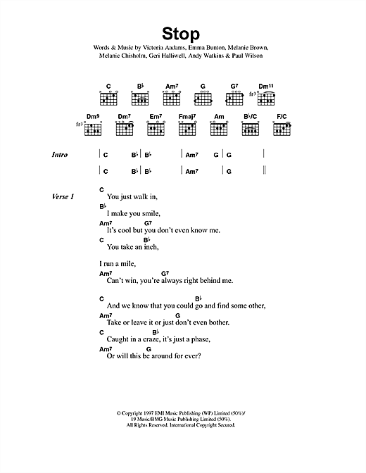 The Spice Girls Stop sheet music notes and chords