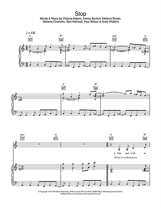 The Spice Girls Stop sheet music notes and chords. Download Printable PDF.