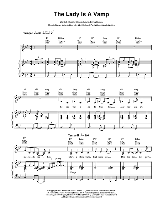 The Spice Girls The Lady Is A Vamp sheet music notes and chords. Download Printable PDF.