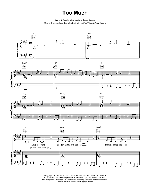 The Spice Girls Too Much sheet music notes and chords