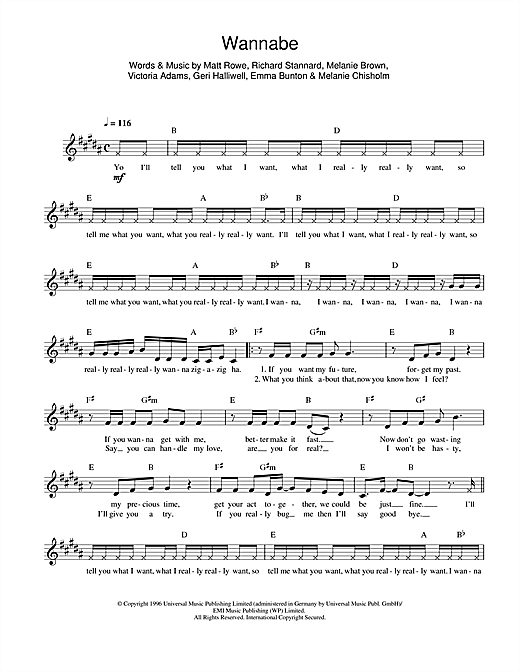 The Spice Girls Wannabe sheet music notes and chords. Download Printable PDF.