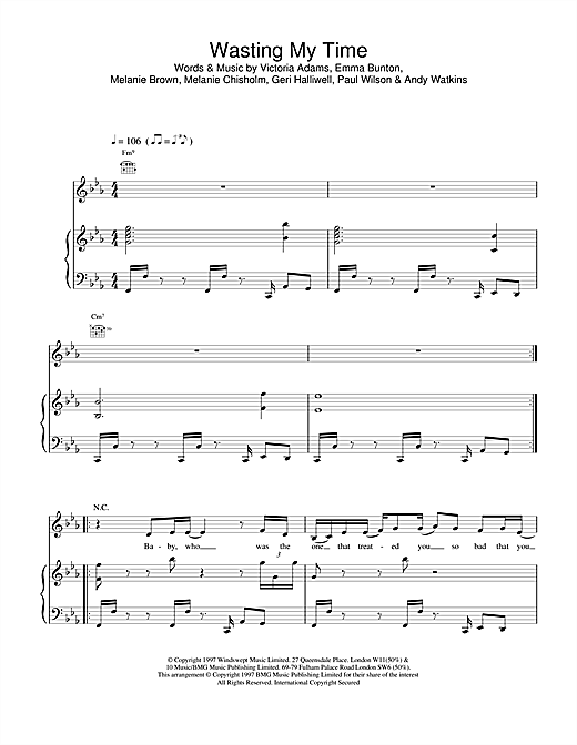 The Spice Girls Wasting My Time sheet music notes and chords. Download Printable PDF.