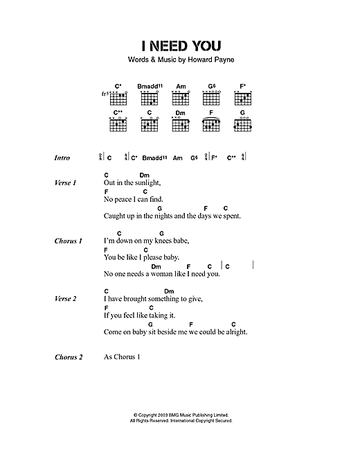 The Stands I Need You sheet music notes and chords. Download Printable PDF.