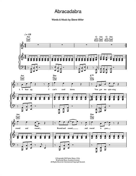 The Steve Miller Band Abracadabra sheet music notes and chords. Download Printable PDF.