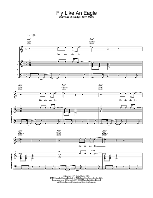 The Steve Miller Band Fly Like An Eagle sheet music notes and chords