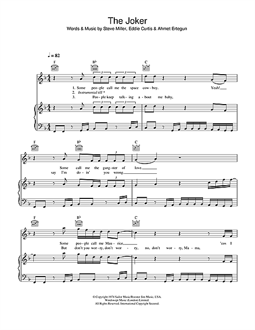 The Steve Miller Band The Joker sheet music notes and chords. Download Printable PDF.