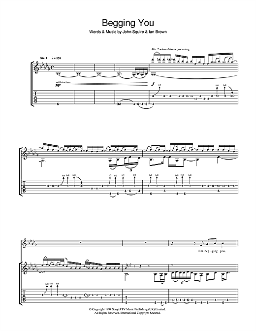 The Stone Roses Begging You sheet music notes and chords. Download Printable PDF.