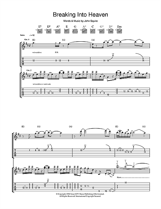 The Stone Roses Breaking Into Heaven sheet music notes and chords. Download Printable PDF.