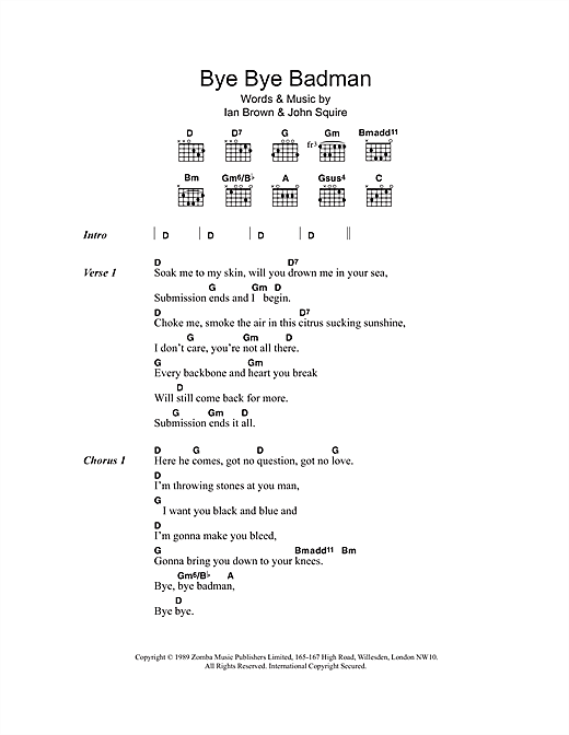 The Stone Roses Bye Bye Badman sheet music notes and chords. Download Printable PDF.