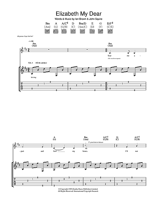 The Stone Roses Elizabeth My Dear sheet music notes and chords. Download Printable PDF.
