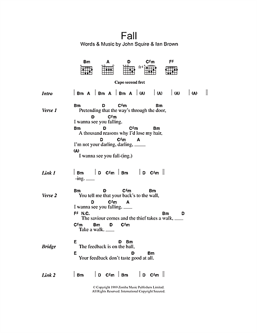 The Stone Roses Fall sheet music notes and chords. Download Printable PDF.