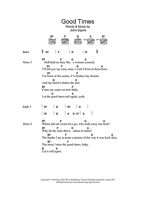 The Stone Roses Good Times sheet music notes and chords. Download Printable PDF.