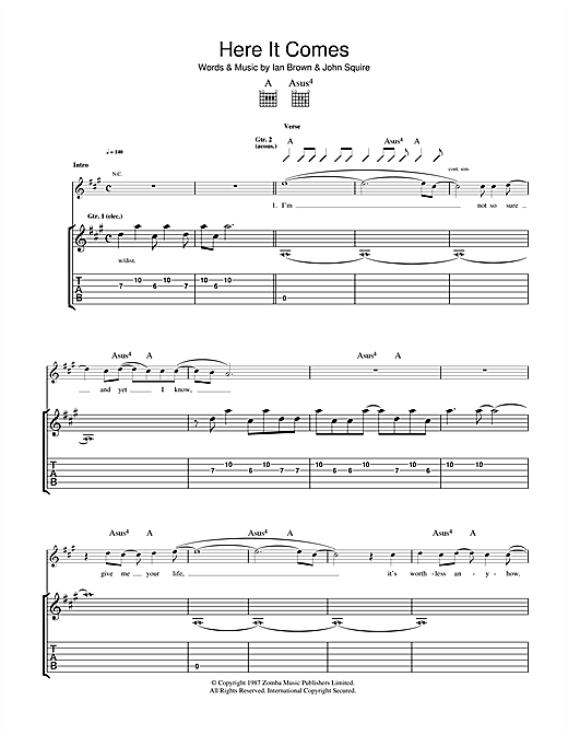 The Stone Roses Here It Comes sheet music notes and chords. Download Printable PDF.