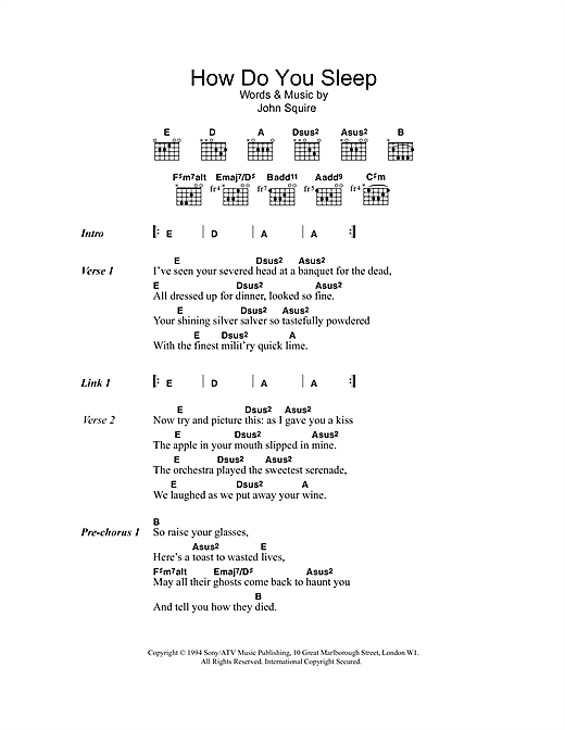 The Stone Roses How Do You Sleep sheet music notes and chords. Download Printable PDF.