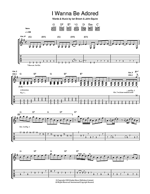 The Stone Roses I Wanna Be Adored sheet music notes and chords. Download Printable PDF.