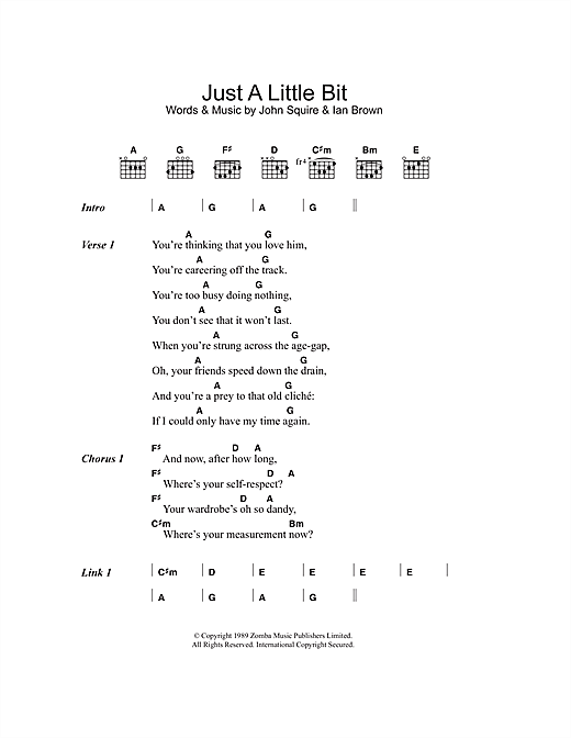 The Stone Roses Just A Little Bit sheet music notes and chords. Download Printable PDF.