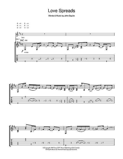 The Stone Roses Love Spreads sheet music notes and chords. Download Printable PDF.