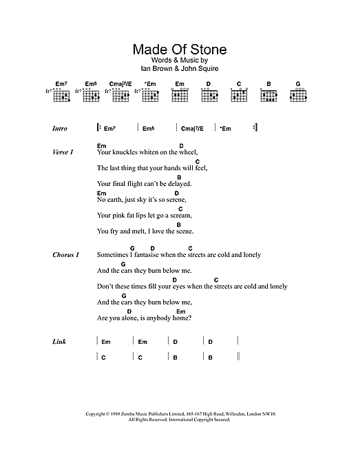 The Stone Roses Made Of Stone sheet music notes and chords. Download Printable PDF.