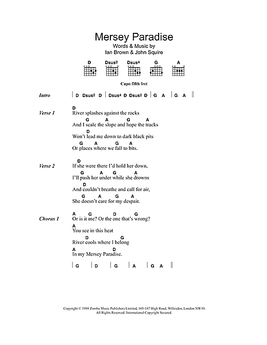The Stone Roses Mersey Paradise sheet music notes and chords. Download Printable PDF.
