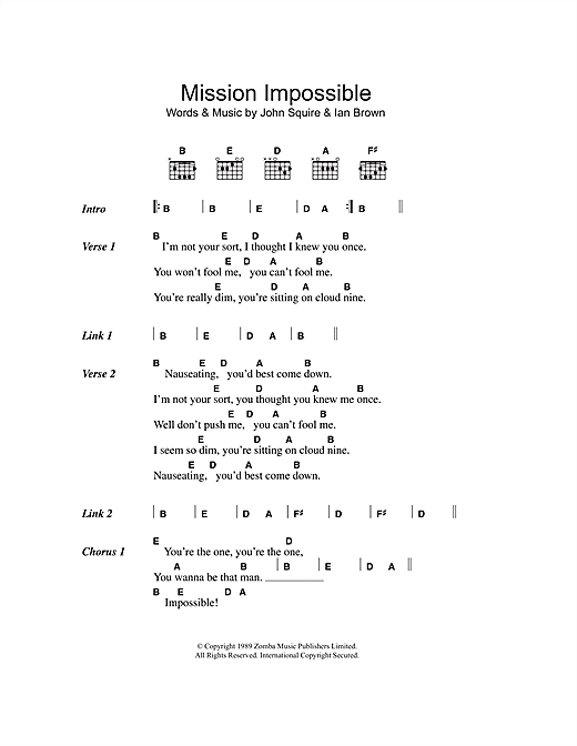 The Stone Roses Mission Impossible sheet music notes and chords. Download Printable PDF.