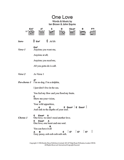 The Stone Roses One Love sheet music notes and chords. Download Printable PDF.