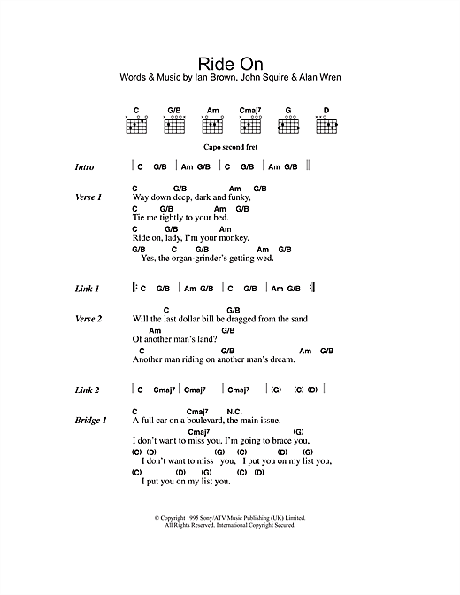 The Stone Roses Ride On sheet music notes and chords. Download Printable PDF.