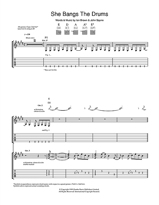 The Stone Roses She Bangs The Drums sheet music notes and chords. Download Printable PDF.