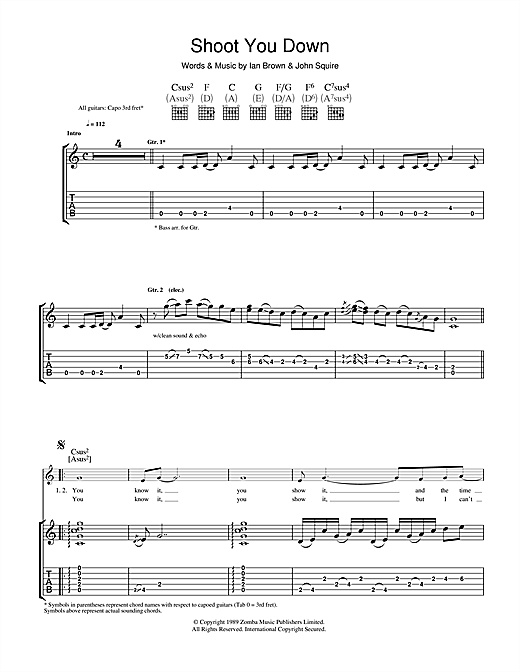 The Stone Roses Shoot You Down sheet music notes and chords. Download Printable PDF.