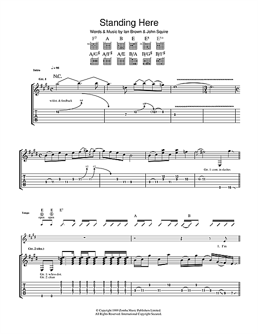 The Stone Roses Standing Here sheet music notes and chords. Download Printable PDF.