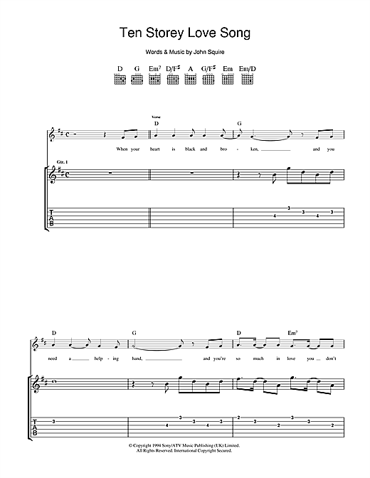 The Stone Roses Ten Storey Love Song sheet music notes and chords. Download Printable PDF.