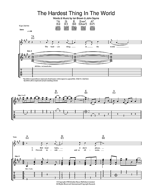 The Stone Roses The Hardest Thing In The World sheet music notes and chords. Download Printable PDF.