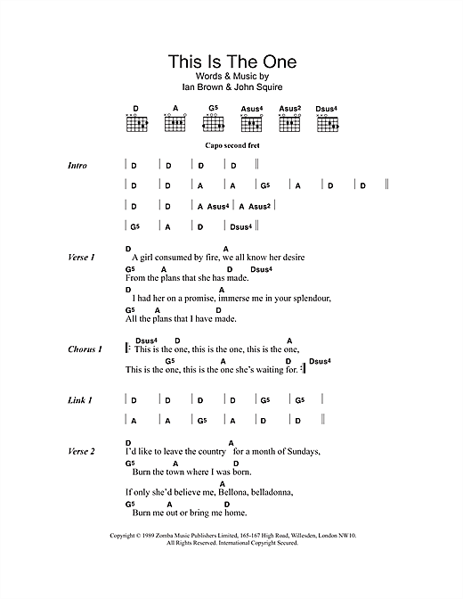 The Stone Roses This is The One sheet music notes and chords. Download Printable PDF.