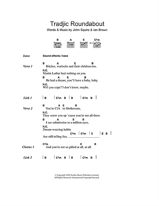The Stone Roses Tradjic Roundabout sheet music notes and chords. Download Printable PDF.