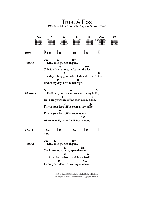 The Stone Roses Trust A Fox sheet music notes and chords. Download Printable PDF.