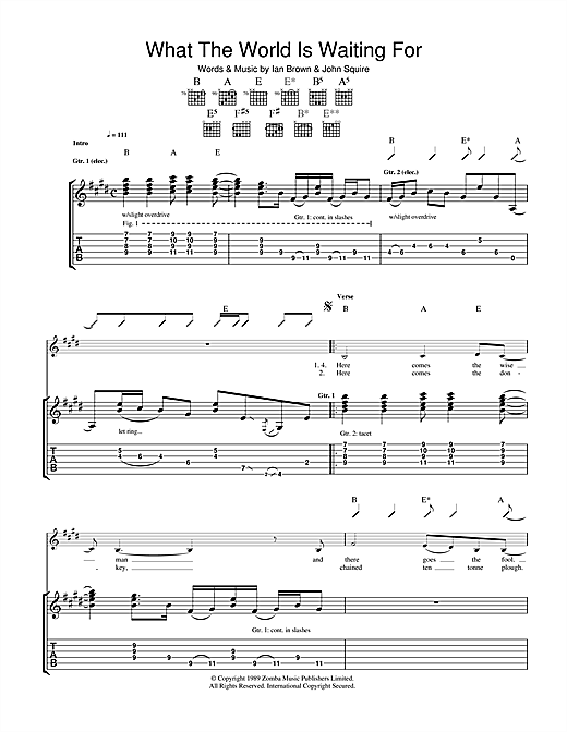 The Stone Roses What The World Is Waiting For sheet music notes and chords. Download Printable PDF.