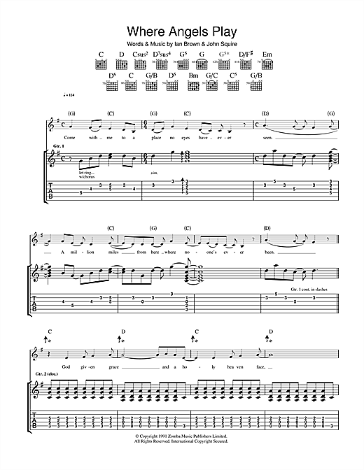 The Stone Roses Where Angels Play sheet music notes and chords. Download Printable PDF.