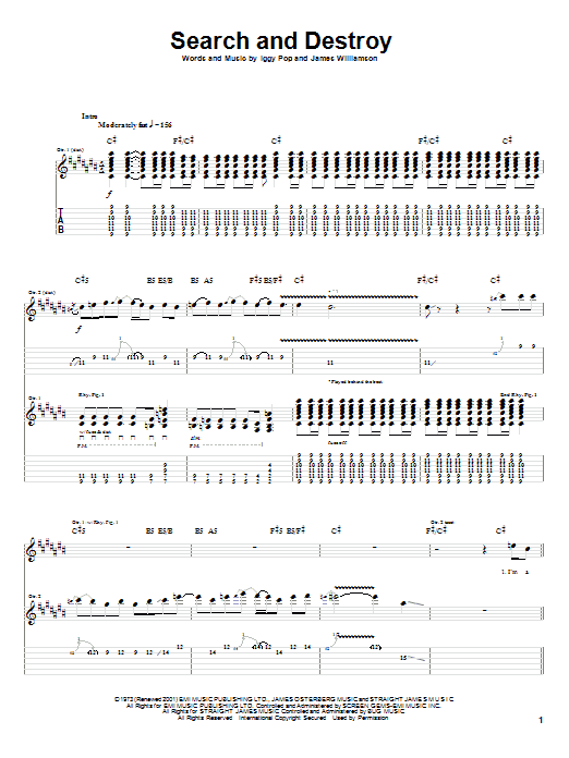 The Stooges Search And Destroy sheet music notes and chords. Download Printable PDF.