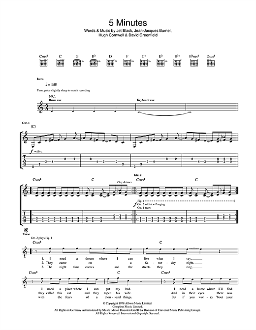 The Stranglers 5 Minutes sheet music notes and chords. Download Printable PDF.