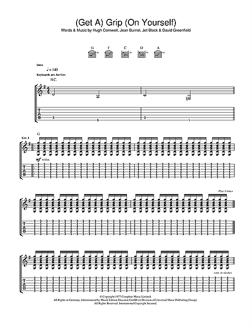 The Stranglers (Get A) Grip (On Yourself) sheet music notes and chords. Download Printable PDF.