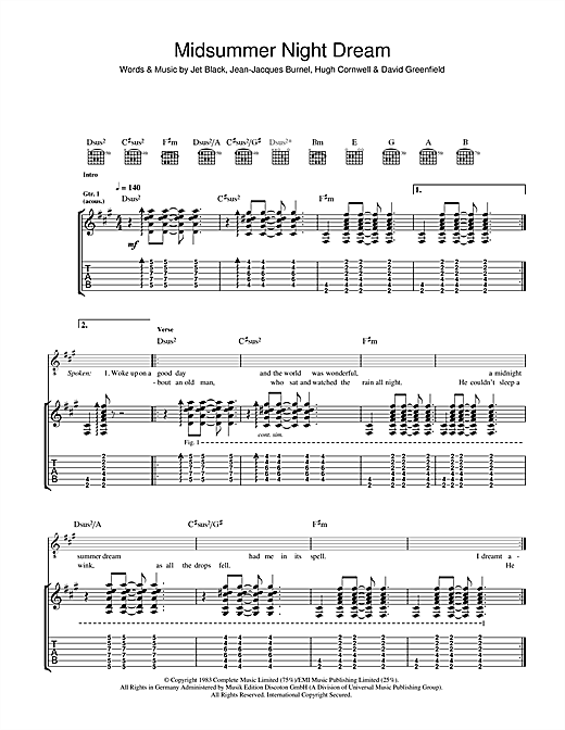 The Stranglers Midnight Summer Dream sheet music notes and chords